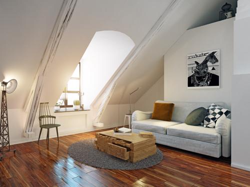 wohnung sofa dachgeschoss